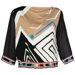 Vintage Leonard Paris Multicolored Geometric Printed Silk Jersey Blouse