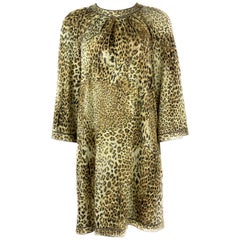 Vintage LEONARD Paris Silk Leopard 3/4 Sleeve Mini Dress Size 42