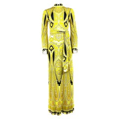 Vintage LEONARD Yellow and Black Print Turtleneck Maxi Dress w/ Belt Size 3