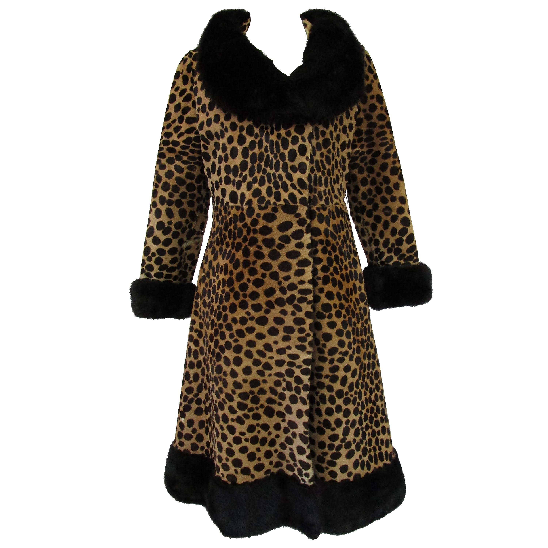 Vintage Leopard Print Calf-skin and Mink Trim Coat with Belt