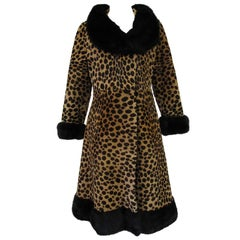 Vintage Leopard Print Calf-skin and Mink Trim Coat with Belt