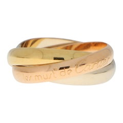 Vintage Les Must De Cartier Trinity Ring in 18k Gold with Certificate