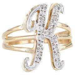 Vintage Letter K Initial Ring 14 Karat Yellow Gold Estate Fine Script Jewelry