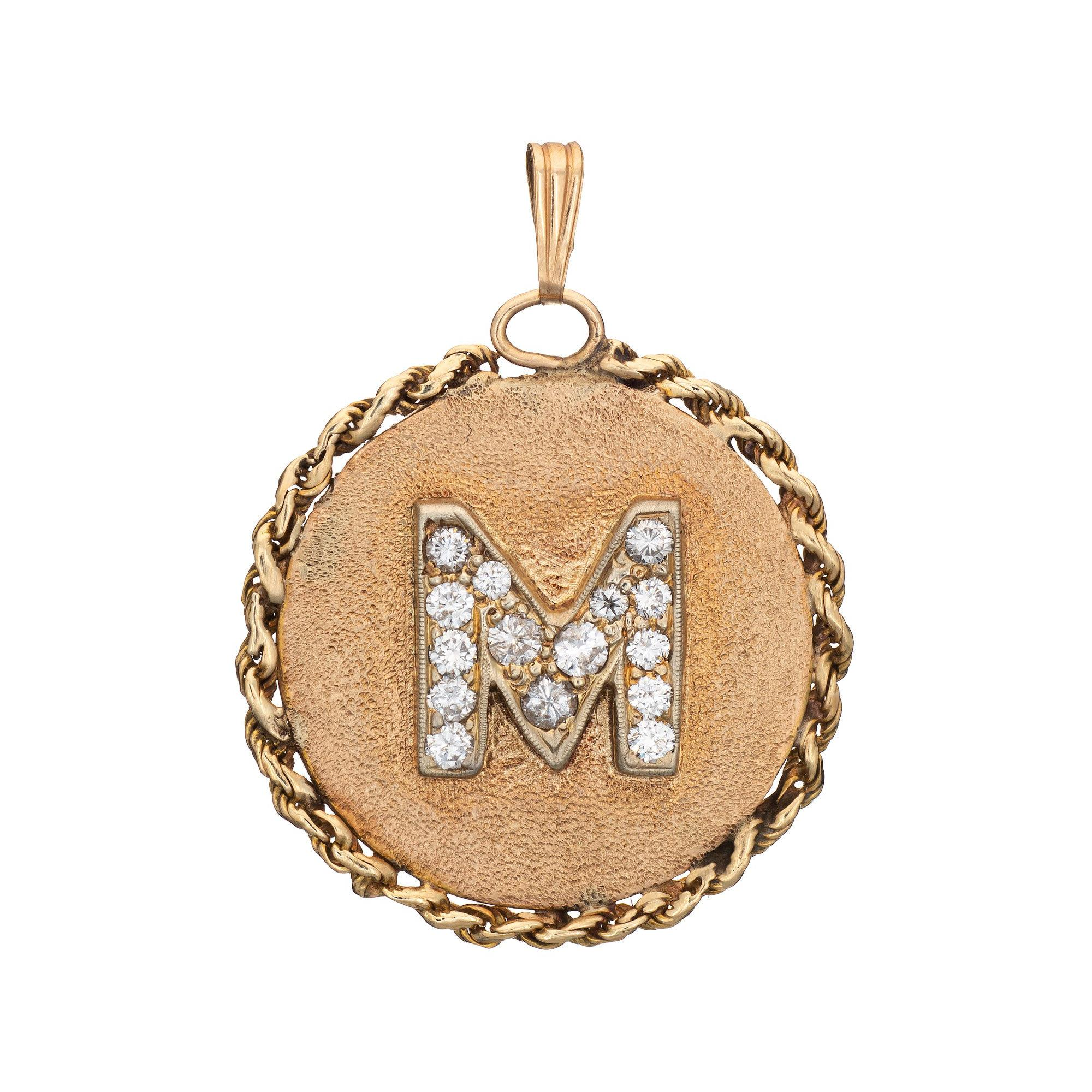 Vintage Letter M Pendant Diamond 14k Yellow Gold Initial Charm Jewelry Round