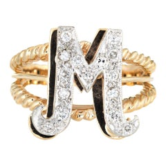 Vintage Letter M Ring 14 Karat Yellow Gold Initial Jewelry Estate Fine Two-Tone