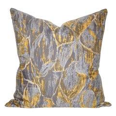 Vintage Liberty of London Gray Yellow Silk Fabric and Irish Linen Cushion Pillow