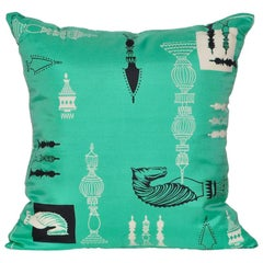 Vintage Liberty of London Green Print Silk Chess Irish Linen Cushion Pillow