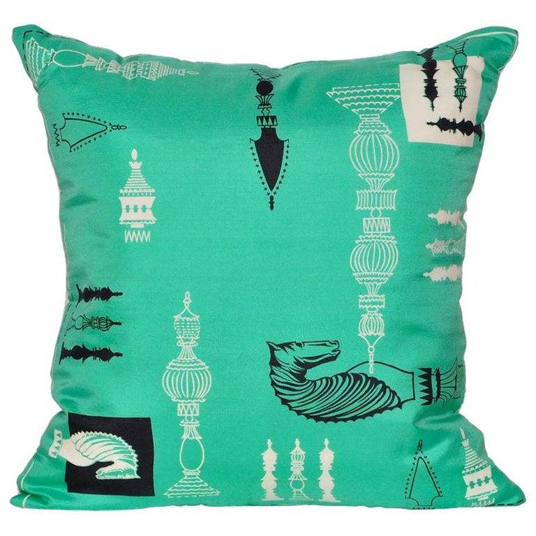 Vintage Liberty of London Green Print Silk Chess Irish Linen Cushion Pillow For Sale
