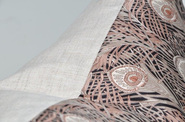 English Vintage Liberty of London Peacock Feather Silk Fabric Irish Linen Cushion Pillow For Sale