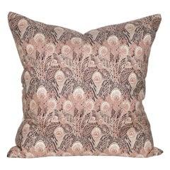 Vintage Liberty of London Peacock Feather Silk Fabric Irish Linen Cushion Pillow
