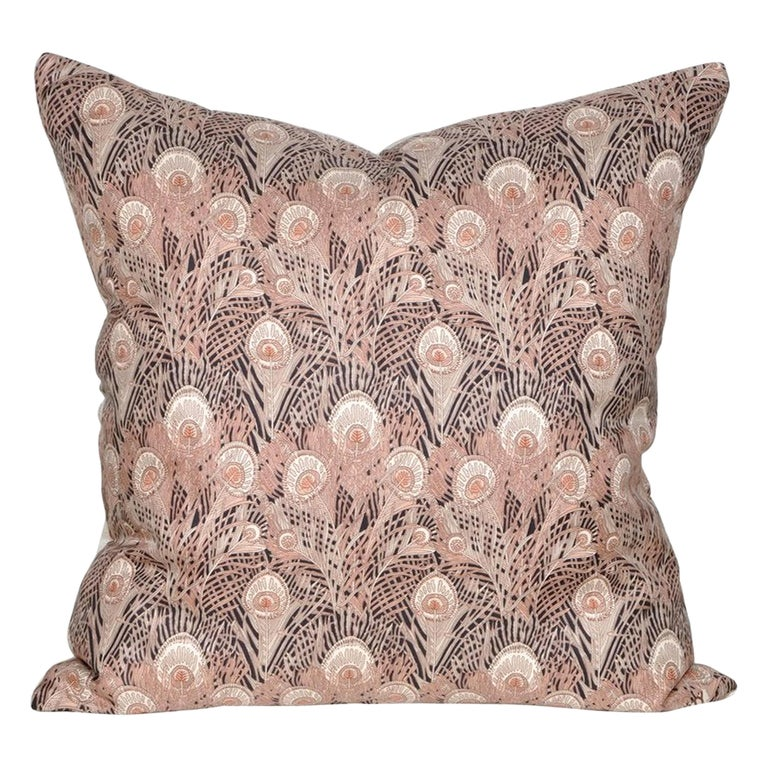 Vintage Liberty of London Peacock Feather Silk Fabric Irish Linen Cushion Pillow For Sale