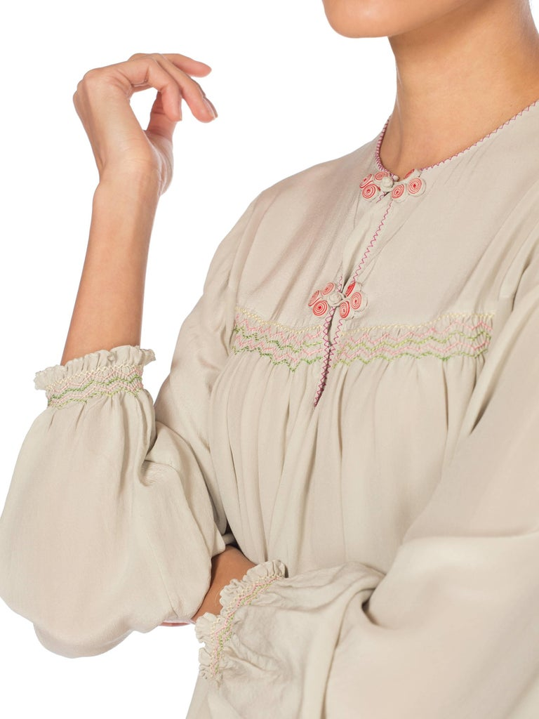Hand Embroidered Liberty Style Vintage Silk Crepe Boho Tunic Blouse  For Sale 5