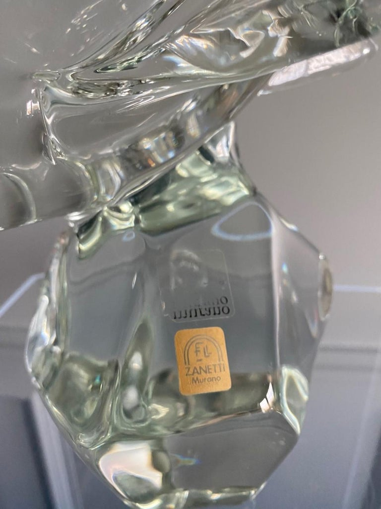 Mid-Century Modern Vintage Licio Zanetti Midcentury Murano Glass Shark Sculpture For Sale