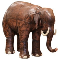 Vintage Life Size Patinated Brown Leather Calf Baby Elephant