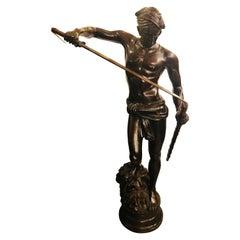 Vintage Life-Sized Bronze of David Slaying Goliath Signed A. Mercier
