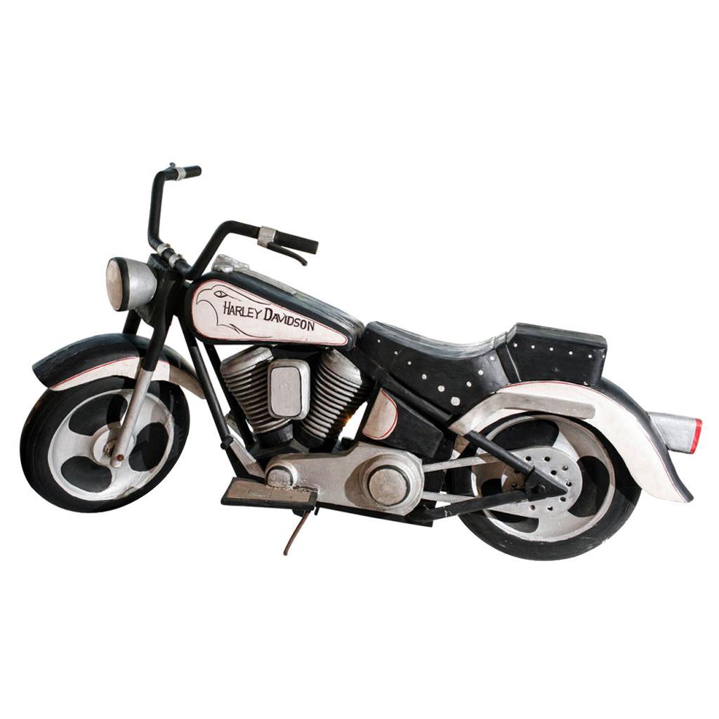 Vintage Life-Sized Folk Art Harley Davidson Motorcycle Sculpture