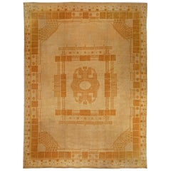 Vintage Light Beige Viennese Secessionist Handwoven Wool Rug