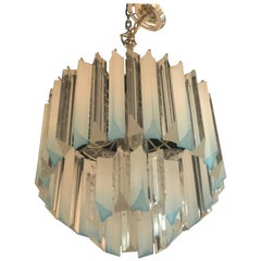 Vintage Light Blue Aqua Lucite Two-Tier Chrome Chandelier