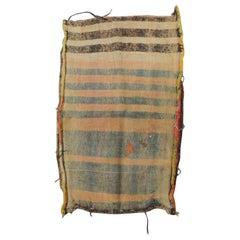 "Vintage Light Orange and Brown Stripe  Kilim ""Mafrash"" Grain Sack Fragment"