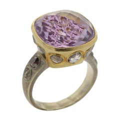 Vintage Light Purple Ring Amethyst Cushion 13 Carat 18 Karat Two Tone Gold