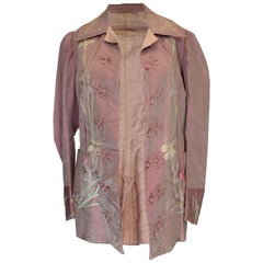 Vintage Lilac Silk Jacket with Embroidery