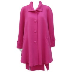 Vintage Liliane Burty Hot Pink Wool French Skirt Suit With Swing Coat