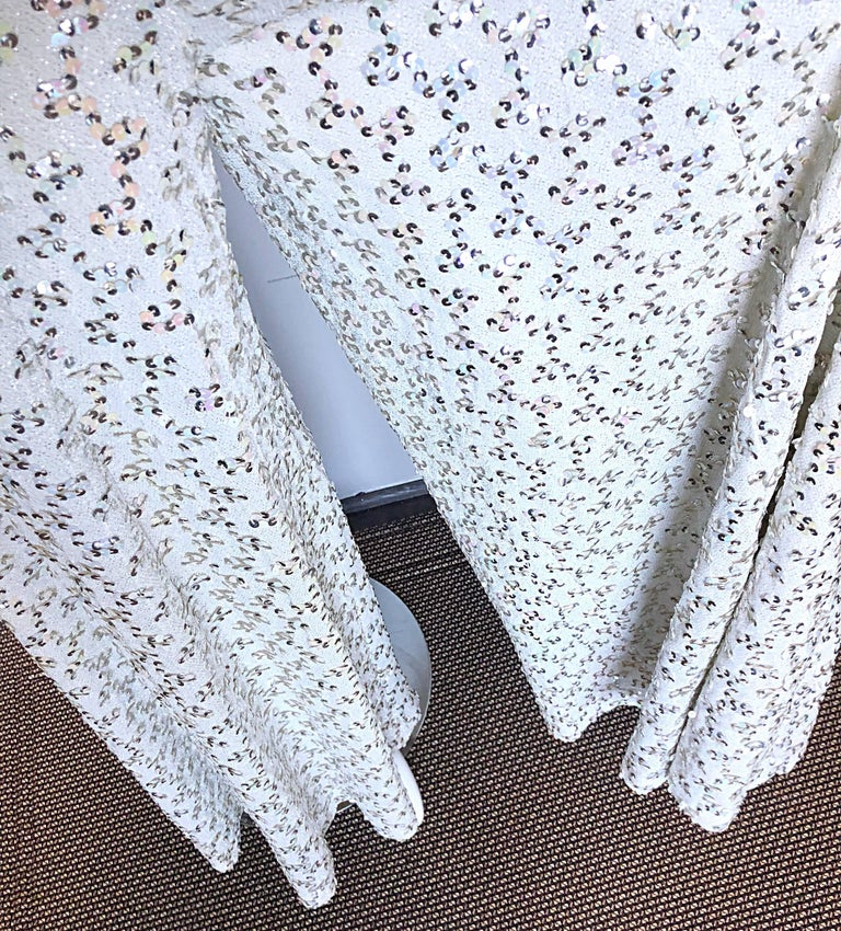 Vintage Lilli Diamond 1970s Silver Sequined 70s Amazing Lurex Wide Leg Jumpsuit In Excellent Condition For Sale In Chicago, IL