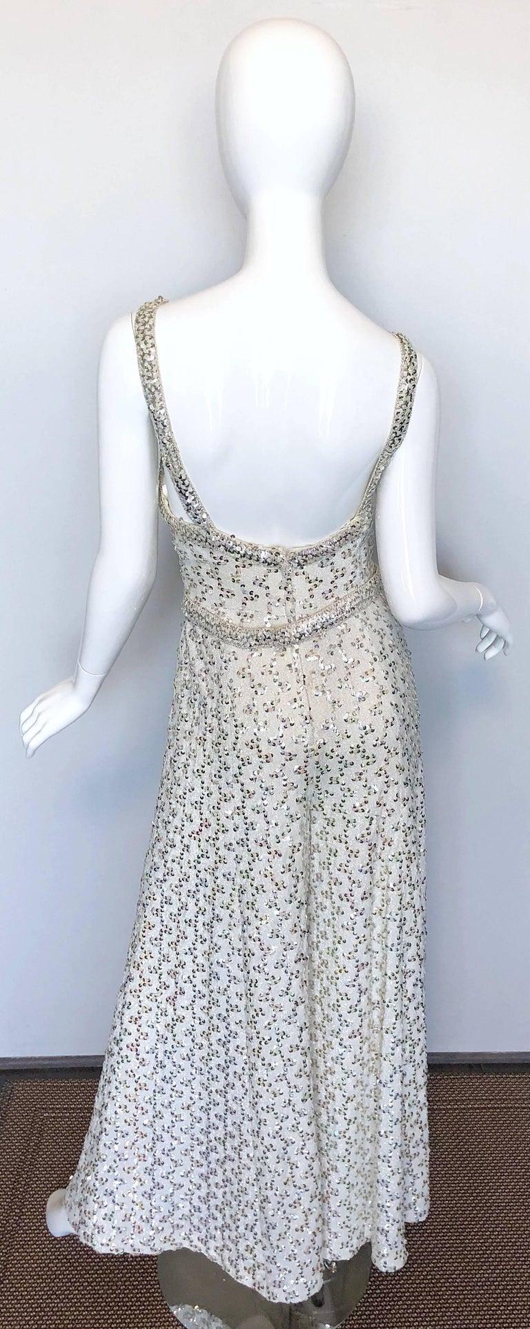 Vintage Lilli Diamond 1970s Silver Sequined 70s Amazing Lurex Wide Leg Jumpsuit For Sale 1