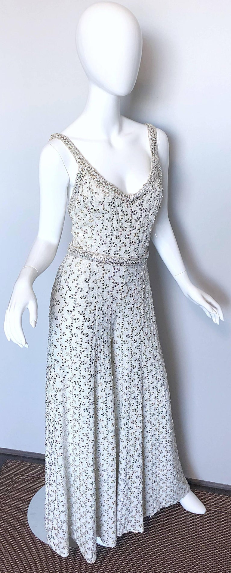 Vintage Lilli Diamond 1970s Silver Sequined 70s Amazing Lurex Wide Leg Jumpsuit For Sale 2