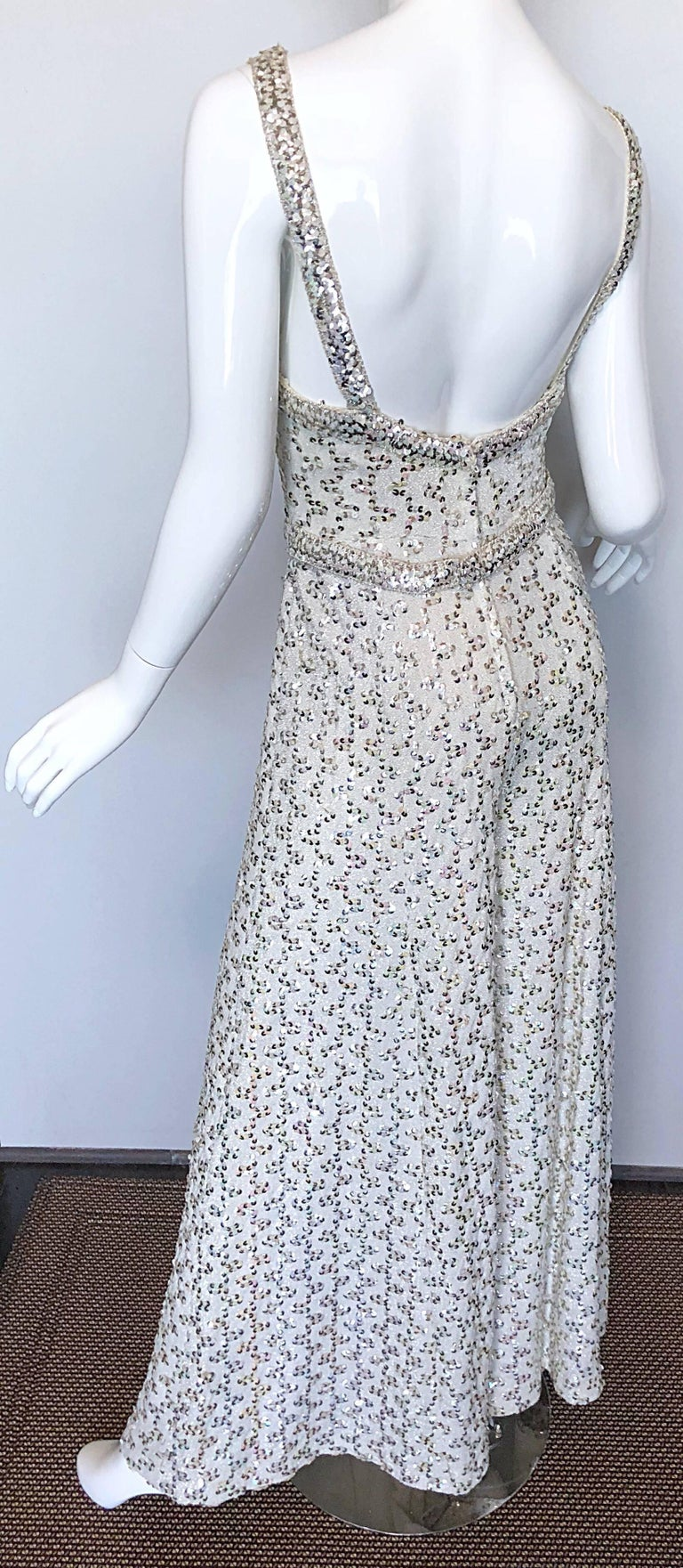 Vintage Lilli Diamond 1970s Silver Sequined 70s Amazing Lurex Wide Leg Jumpsuit For Sale 3