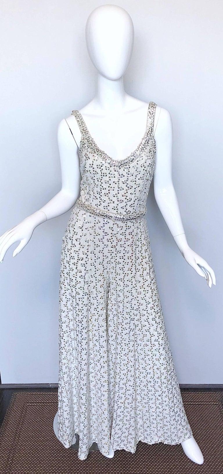 Vintage Lilli Diamond 1970s Silver Sequined 70s Amazing Lurex Wide Leg Jumpsuit For Sale 4