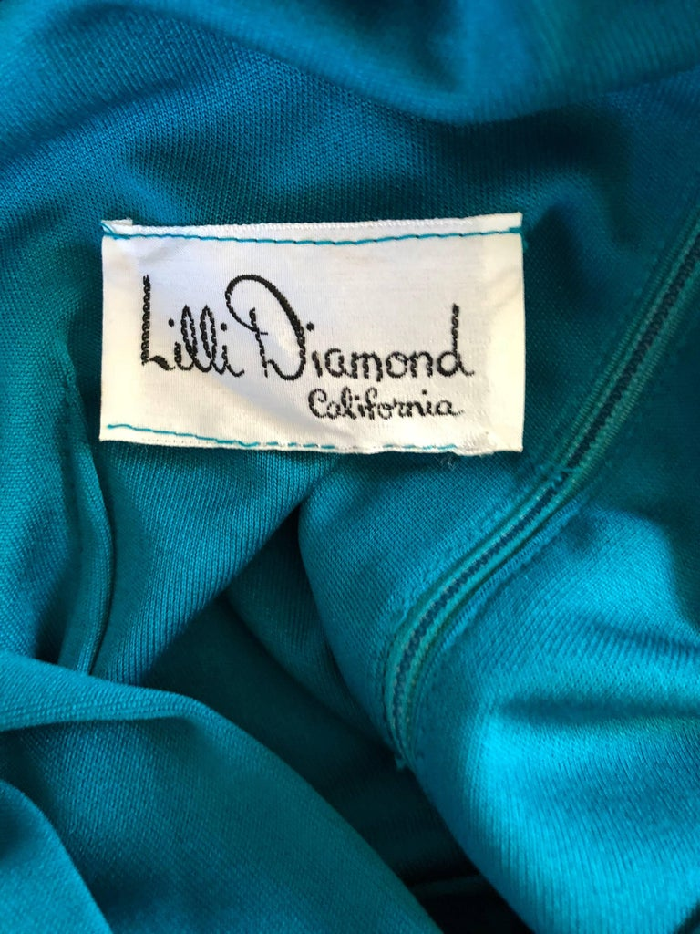 Vintage Lilli Diamond 1970s Teal Blue Long Sleeve 70s Knee Length Jersey Dress For Sale 6