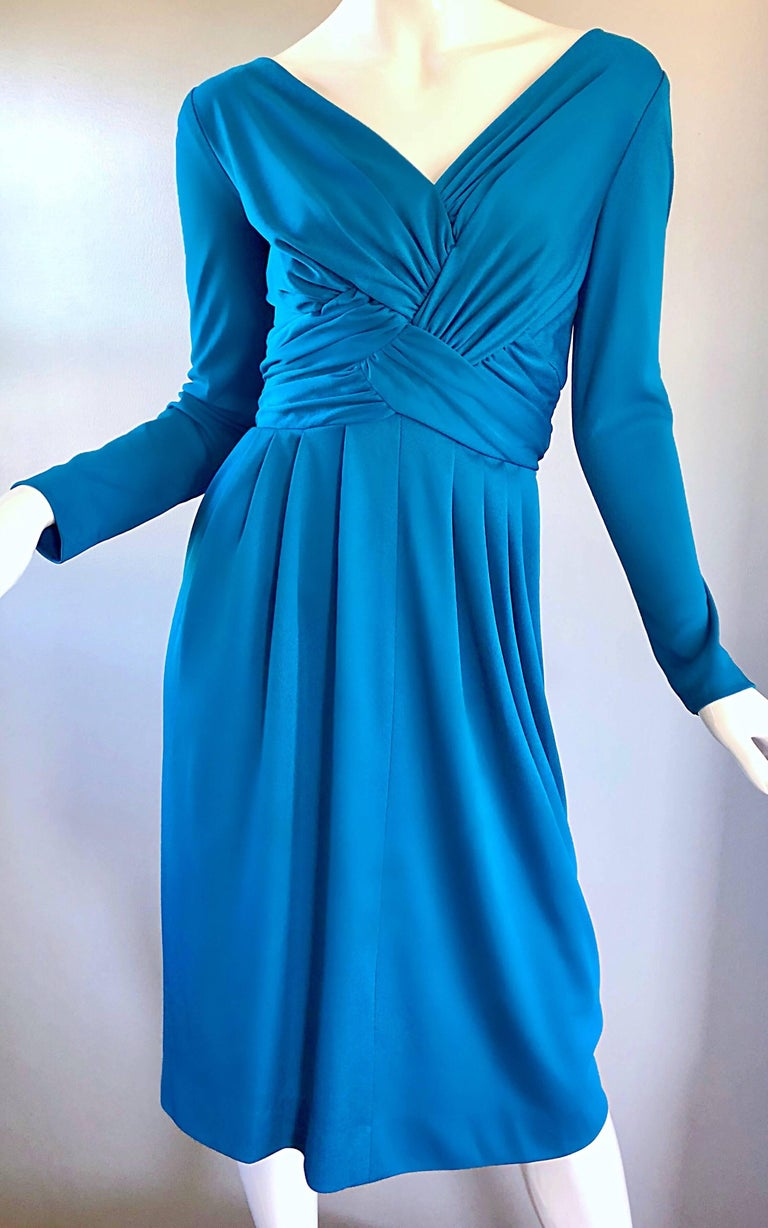 Vintage Lilli Diamond 1970s Teal Blue Long Sleeve 70s Knee Length Jersey Dress In Excellent Condition For Sale In Chicago, IL