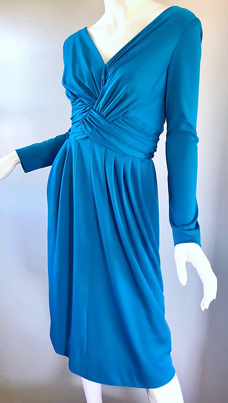 Vintage Lilli Diamond 1970s Teal Blue Long Sleeve 70s Knee Length Jersey Dress For Sale 1