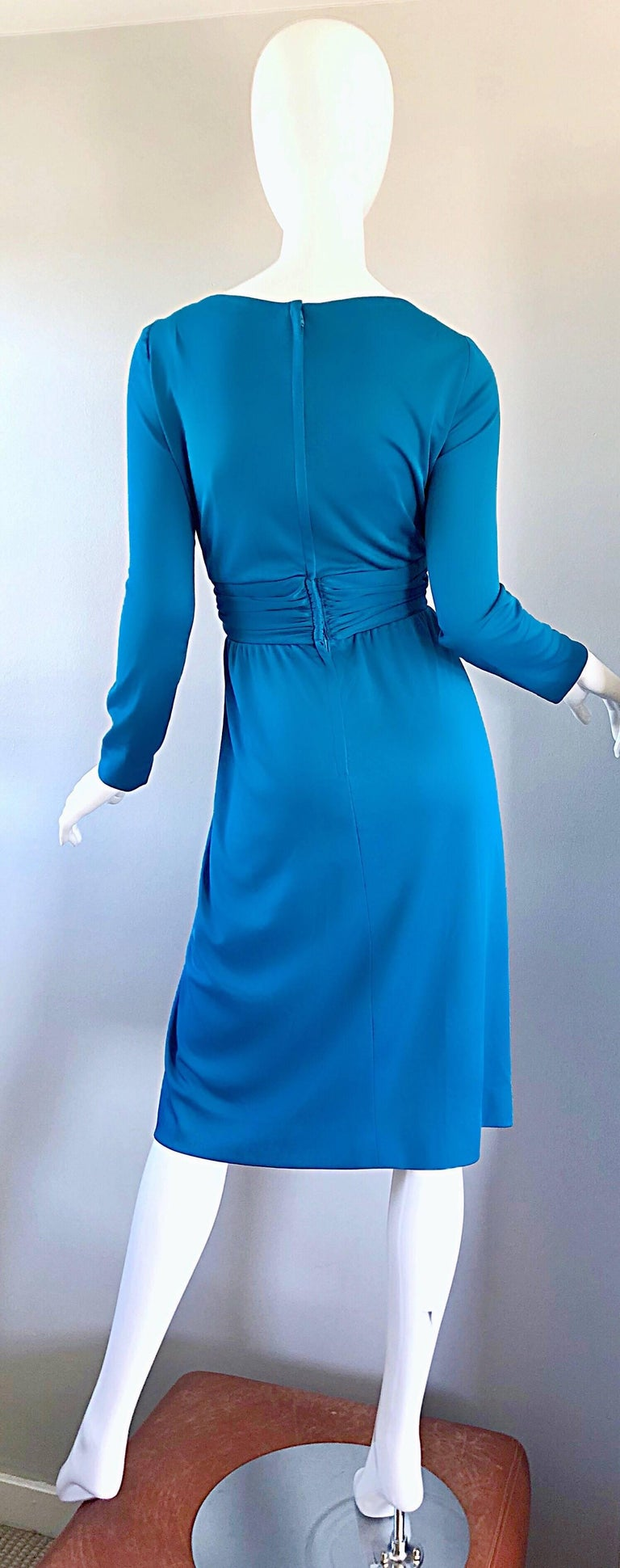Vintage Lilli Diamond 1970s Teal Blue Long Sleeve 70s Knee Length Jersey Dress For Sale 3