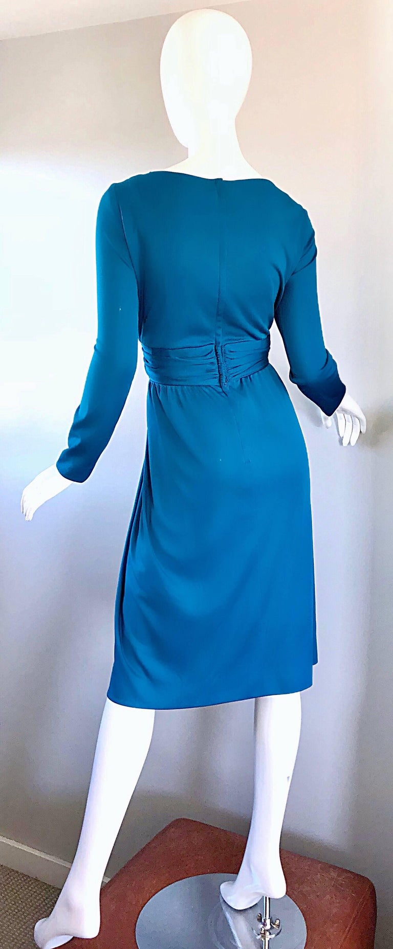 Vintage Lilli Diamond 1970s Teal Blue Long Sleeve 70s Knee Length Jersey Dress For Sale 4
