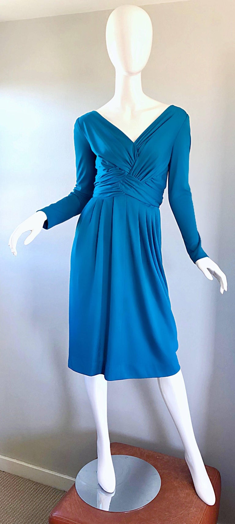 Vintage Lilli Diamond 1970s Teal Blue Long Sleeve 70s Knee Length Jersey Dress For Sale 5