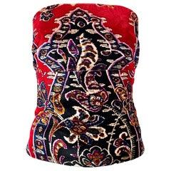 Vintage Lillie Rubin 1990s Red Tapestry Velvet  Strapless Bustier 90s Top Corset