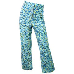 Vintage Lilly Pulitzer 1970s High Waisted Blue + Yellow + Turquoise Bell Bottoms