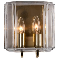 Vintage Limburg Glass Sconces in Polished Brass, Midcentury, German, circa 1960