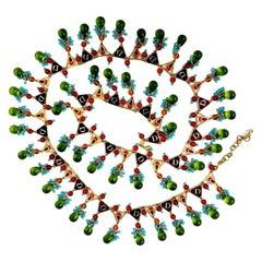 Vintage Limited Edition CHRISTIAN DIOR Gripoix Glass Enamel Belt Necklace