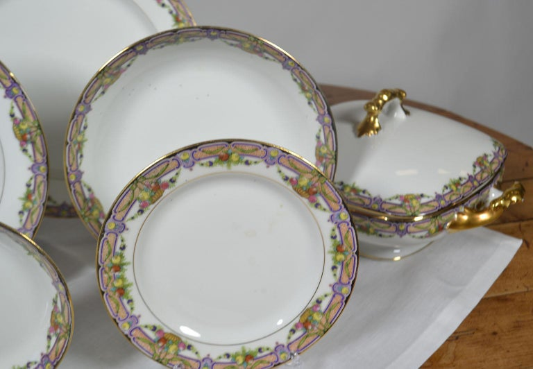 French Vintage Limoges Dinnerware 73 Pieces For Sale