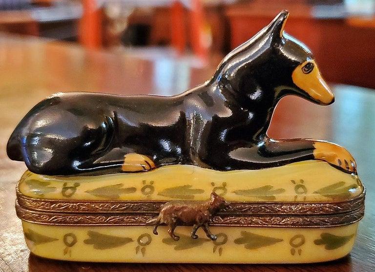 French Vintage Limoges Doberman Pinscher Ring Box For Sale