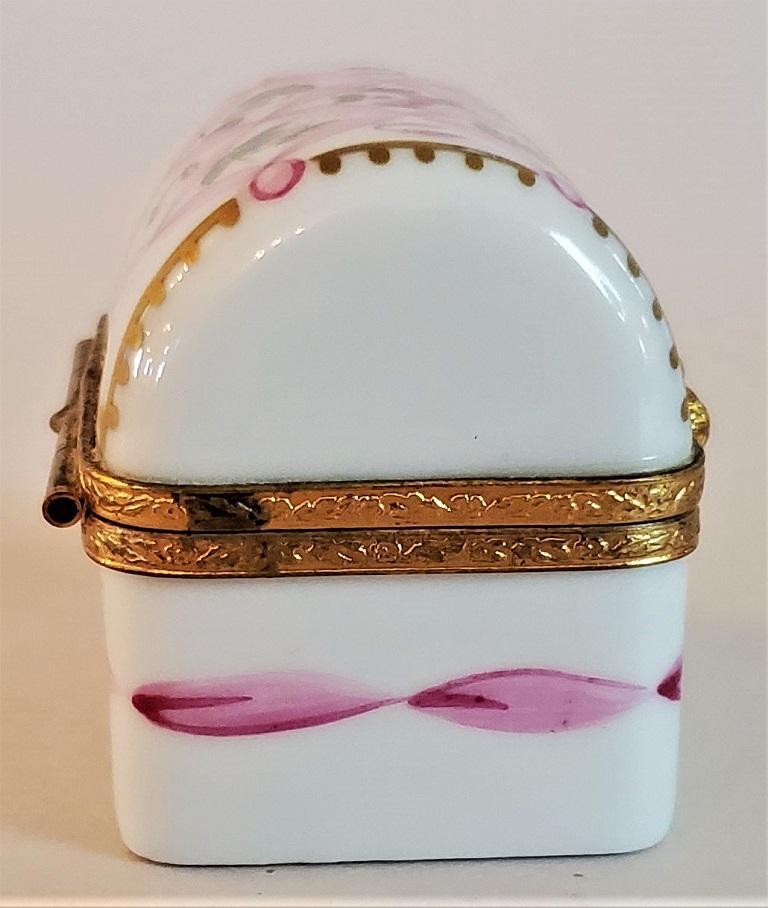French Vintage Limoges Domed Casket Ring Box For Sale