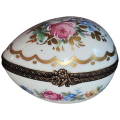 Vintage Limoges Egg Shaped Ring Box
