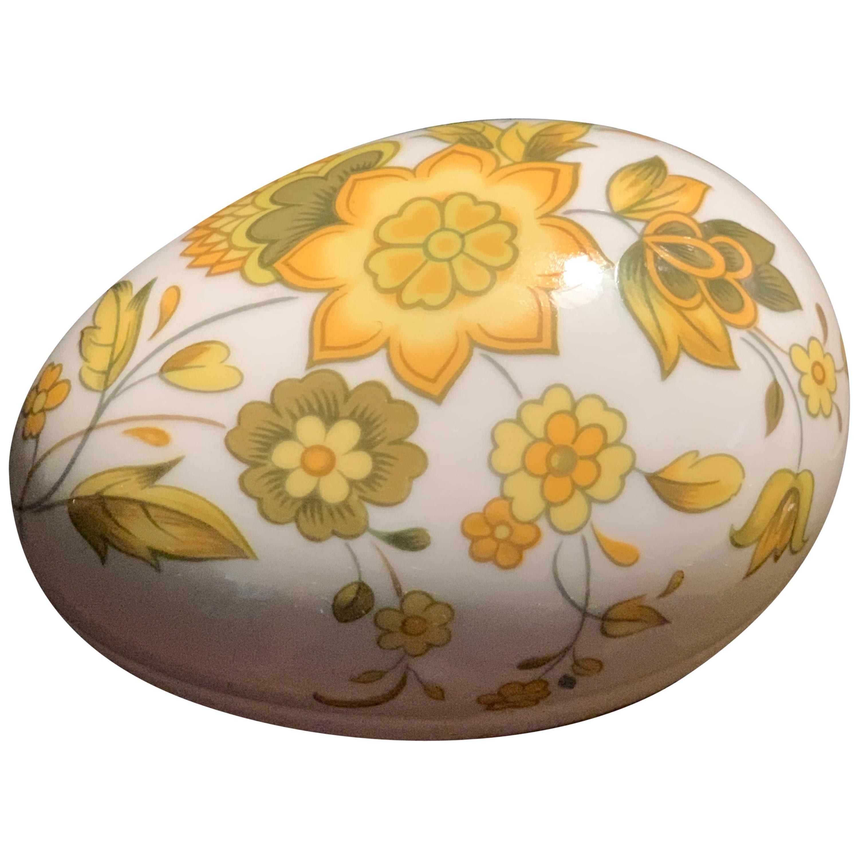Vintage Limoges Hand Painted Porcelain Yellow Floral Egg Trinket Box, France