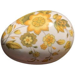 Vintage Limoges Hand Painted Porcelain Yellow Floral Egg Trinket Box, France