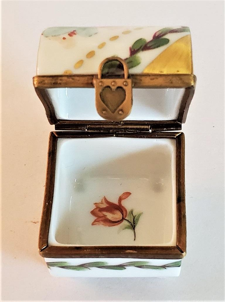 Vintage Limoges Heart Lock Ring Box For Sale 2