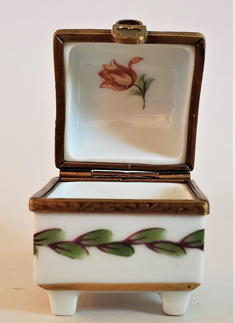Vintage Limoges Heart Lock Ring Box For Sale 1