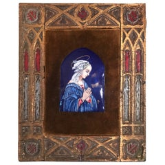 Vintage Limoges Painting of The Virgin Mary, Enamel on Copper